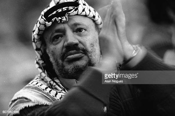 Yasser Arafat Committee president for the Palestine Liberation Organization and Chief of the Fatah attends the 16th Palestinian National Council...