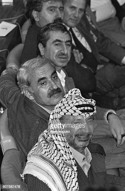 Yasser Arafat Georges Habache and Nayef Hawatmeh attend the National Palestinian Council at Algiers