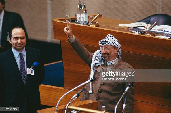 Yasser Arafat giving a speech at the UN General Assembly in Geneva Switzerland on December 13 1988 The US barred Arafat from entering the United...