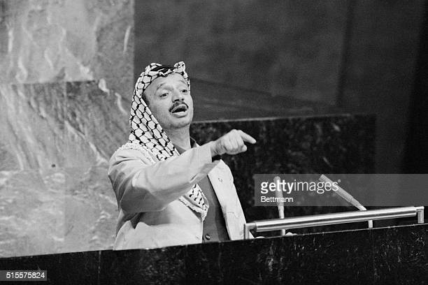 Yasser Arafat head of the Palestine Liberation Organization addresses the United Nations General Assembly November 14 He said he was dreaming of 'one...