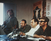 Yasser Arafat leader of the Palestinian political party Fatah holds a press conference in Amman Jordan in the weeks leading up to Black September the...