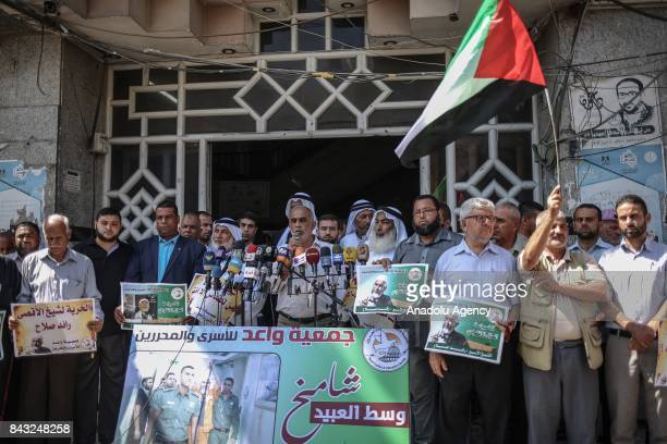 Yasser Saleh representative of the Prisoners Committee of Islamic and National Factions speaks during a demonstration in solidarity with 1948...