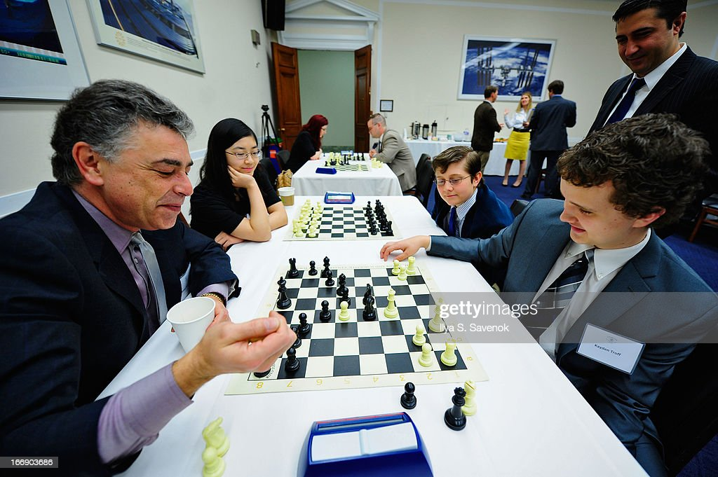 Yasser Seirawan (L), Sarah Chiang (2L), Kayden Troff (R) and Sam Sevian (2R) attend a special event held at United States Capitol Building on April 18, 2013 in Washington, DC.