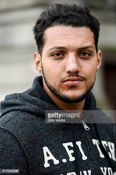 Yassin Aanouz a resident of Anderlecht who was injured during the attack of BrusselsZaventem airport while returning from vacation in Morocco attends...