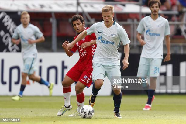 Yassin Ayoub of FC Utrecht Aleksandr Kokorin of FC Zenit during the UEFA Europa League fourth round qualifying first leg match between FC Utrecht and...