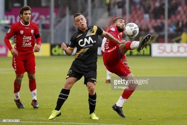 Yassin Ayoub of FC Utrecht Giovanni Korte of NAC Breda Zakaria Labyad of FC Utrecht during the Dutch Eredivisie match between FC Utrecht and NAC...