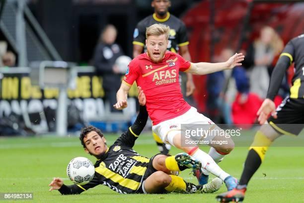 Yassin Ayoub of FC Utrecht Jonas Svensson of AZ Alkmaar during the Dutch Eredivisie match between AZ Alkmaar v FC Utrecht at the AFAS Stadium on...