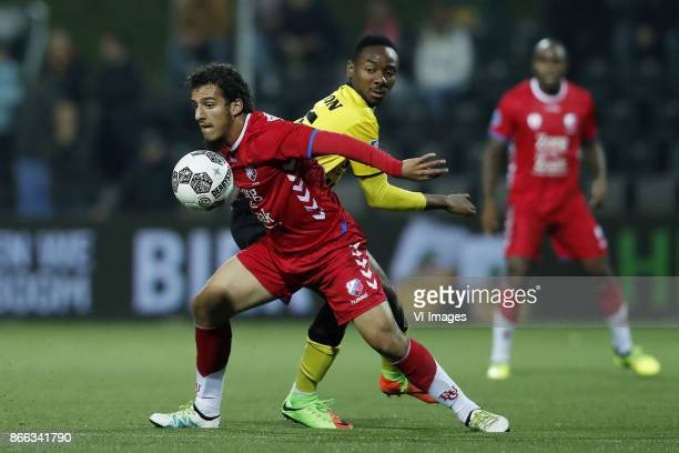 Yassin Ayoub of FC Utrecht Kelechi Nwakali of VVV Venlo during the Second Round Dutch Cup match between VVVVenlo and FC Utrecht at Seacon stadium De...