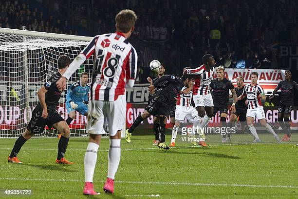 Yassin Ayoub of FC Utrecht Lesly de Sa of Willem II during the Dutch Eredivisie match between Willem II Tilburg and FC Utrecht at Koning Willem II...