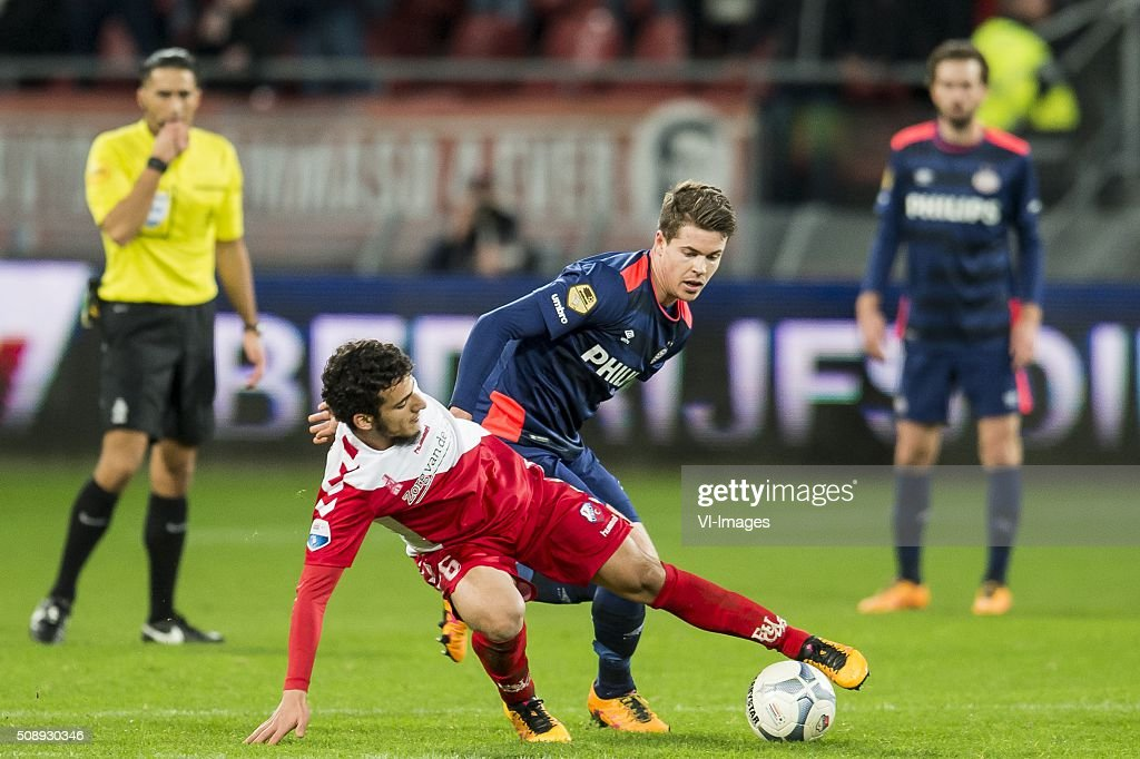 Yassin Ayoub of FC Utrecht, Marco van Ginkel of PSV during the Dutch Eredivisie match between FC Utrecht and PSV Eindhoven at the Galgenwaard Stadium on February 07, 2016 in Utrecht, The Netherlands