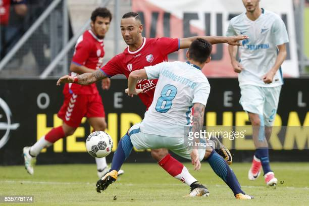 Yassin Ayoub of FC Utrecht Sean Klaiber of FC Utrecht Matias Kranevitter of FC Zenit during the UEFA Europa League fourth round qualifying first leg...