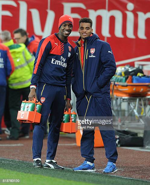Yassin Fortune of Arsenal and Arsenal Youth Team fitness Coach Ivan Mukandi the match between Arsenal U18 and Liverpool U18 in the FA Youth Cup 6th...