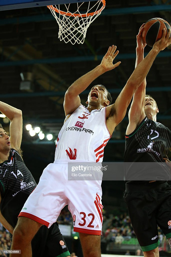Yassin Idbihi, #32 of FC Bayern Munich in action during the 2013-2014 Turkish Airlines Euroleague Regular Season Date 7 game between Montepaschi Siena v FC Bayern Munich at Nelson Mandela Forum on November 29, 2013 in Florence, Italy.