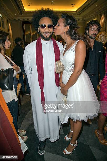 Yassine Azzouz and Alicia Fall attend the Manu Reas show as part of Paris Fashion Week Haute Couture Fall/Winter 2015/2016 on July 8 2015 in Paris...