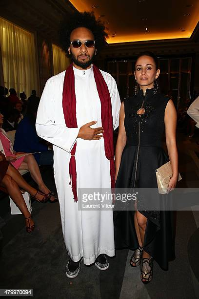 Yassine Azzouz and Sanaa Alaoui attend the Manu Reas show as part of Paris Fashion Week Haute Couture Fall/Winter 2015/2016 on July 8 2015 in Paris...