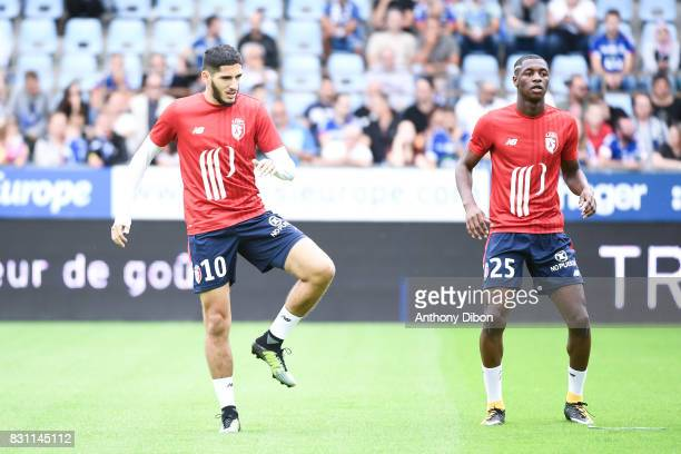 Yassine Benzia and Fode Ballo of Lille during the Ligue 1 match between Racing Club Strasbourg and Lille OSC at Stade de la Meinau on August 13 2017...