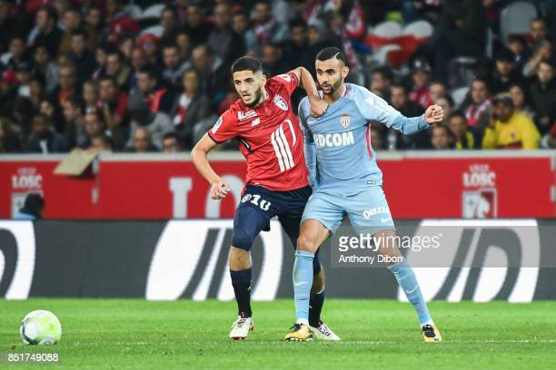 Yassine Benzia of Lille and Rachid Ghezzal of Monaco during the Ligue 1 match between Lille OSC and AS Monaco at Stade Pierre Mauroy on September 22...