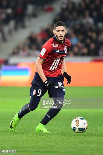 Yassine Benzia of Lille during the Ligue 1 match between Lille OSC and Olympique de Marseille at Stade Pierre Mauroy on March 17 2017 in Lille France
