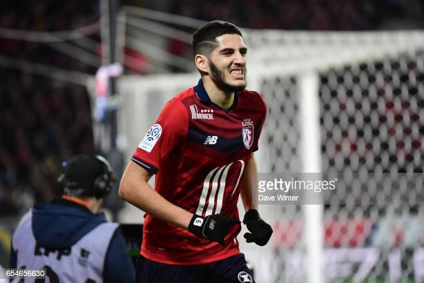 Yassine Benzia of Lille shoots wide during the Ligue 1 match between Lille OSC and Olympique de Marseille at Stade Pierre Mauroy on March 17 2017 in...