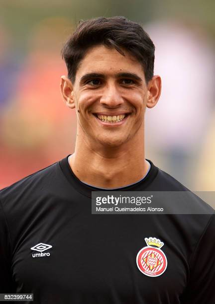 Yassine Bounou of Girona looks on prior to the preseason friendly match between Girona and Manchester City at Municipal de Montilivi Stadium on...