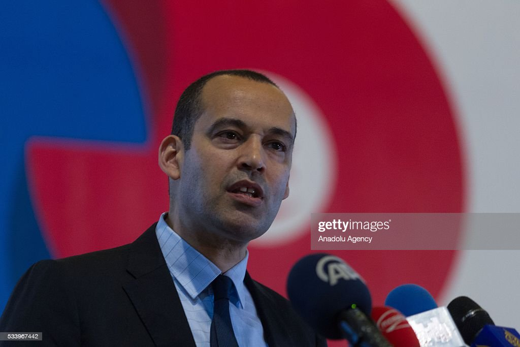 Yassine Brahim Tunisian Minister of Development, Investment and International Cooperation delivers a speech during 'Europe Days' celebrations in Tunis, Tunisia on May 24, 2016