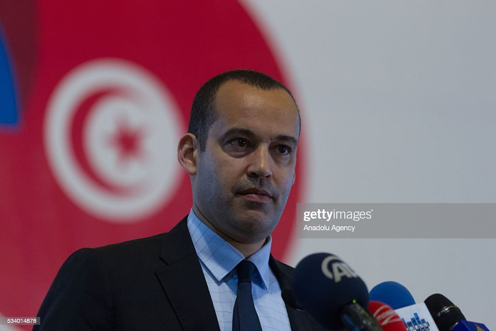 Yassine Brahim, Tunisian Minister of Development, Investment and International Cooperation delivers a speech during 'Europe Days' celebrations in Tunis, Tunisia on May 24, 2016