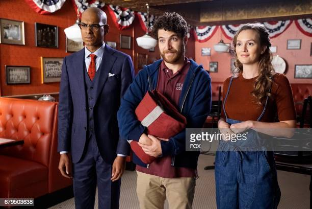 Yassir Lester Adam Pally and Leighton Meester in the 'Night Cream' episode of MAKING HISTORY airing Sunday April 30 on FOX