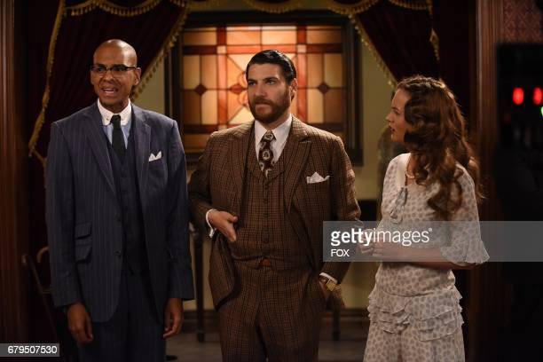 Yassir Lester Adam Pally and Leighton Meester in the 'The Godfriender' episode of MAKING HISTORY airing Sunday April 23 on FOX