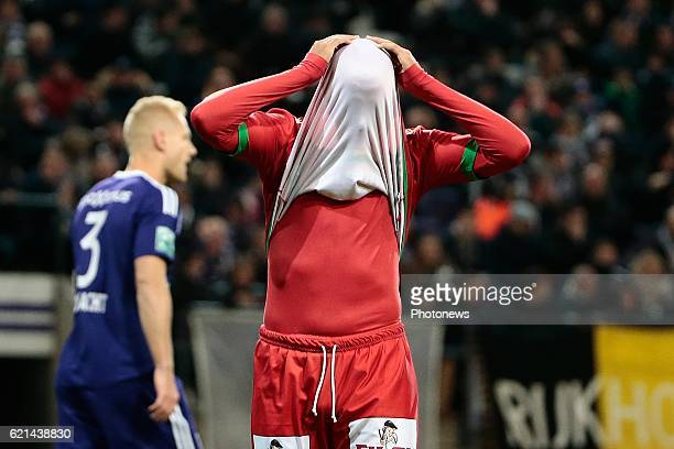 Yasssine El Ghanassy midfielder of KV Oostende pictured during the Jupiler Pro League match between RSC Anderlecht and KV Oostende at the Constant...