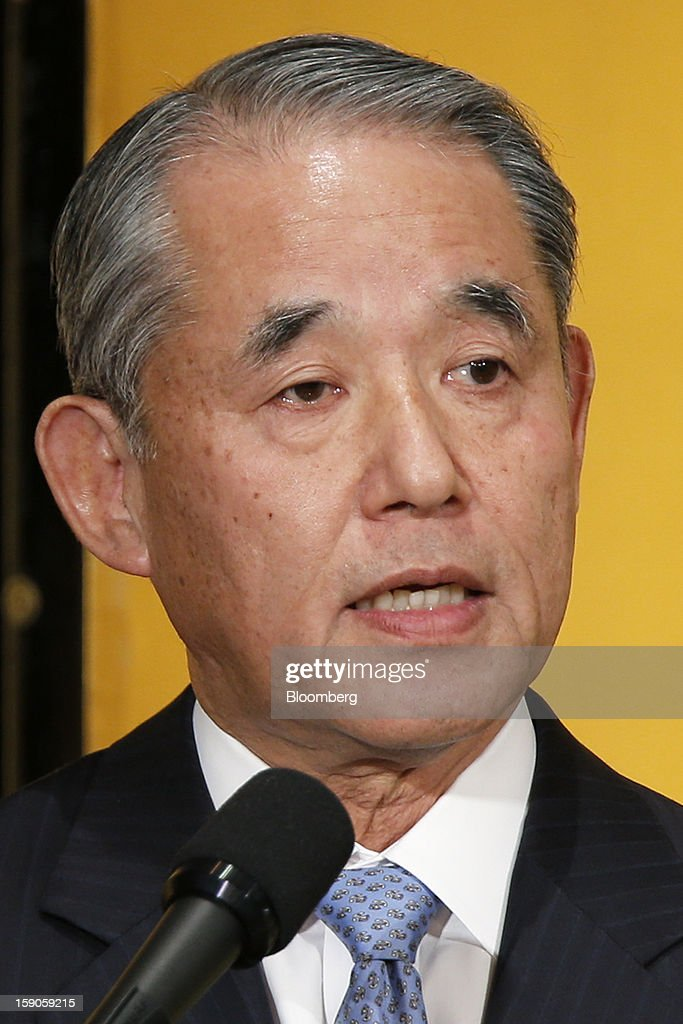 Yasuchika Hasegawa, president of Takeda Pharmaceutical Co. and chairman of the business lobby Keizai Doyukai, speaks during a New Year's party for business leaders in Tokyo, Japan, on Monday, Jan. 7, 2013. The Japanese government will announce around 12 trillion yen ($136 billion) in fiscal stimulus measures to boost the nation's shrinking economy, Japanese media reported today. Photographer: Kiyoshi Ota/Bloomberg via Getty Images