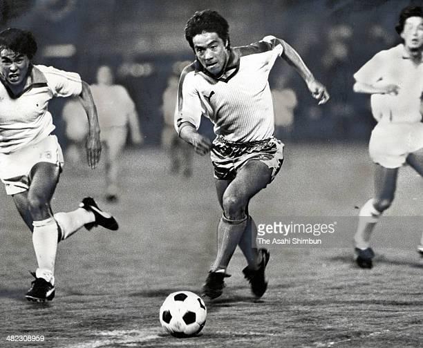 Yasuhiko Okudara of Werder Bremen in action during the friendly match between Werder Bremen and NKK at Mitsuzawa Stadium on June 2 1982 in Yokohama...