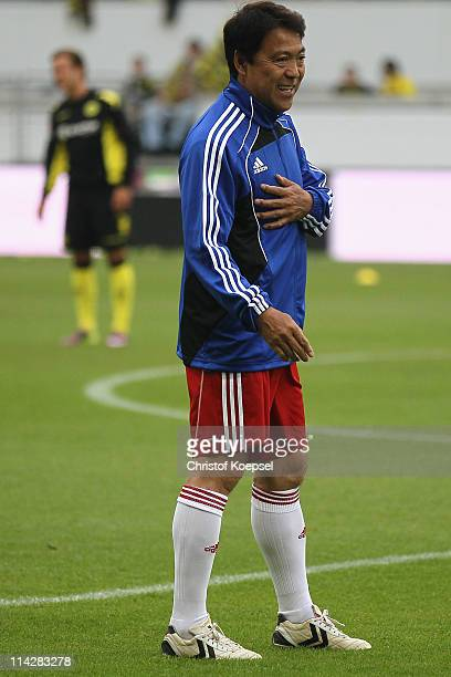 Yasuhiko Okudera of Japan looks on prior to the charity match between Borussia Dortmund and a Team of Japan at the Schauinsland Reisen Arena on May...