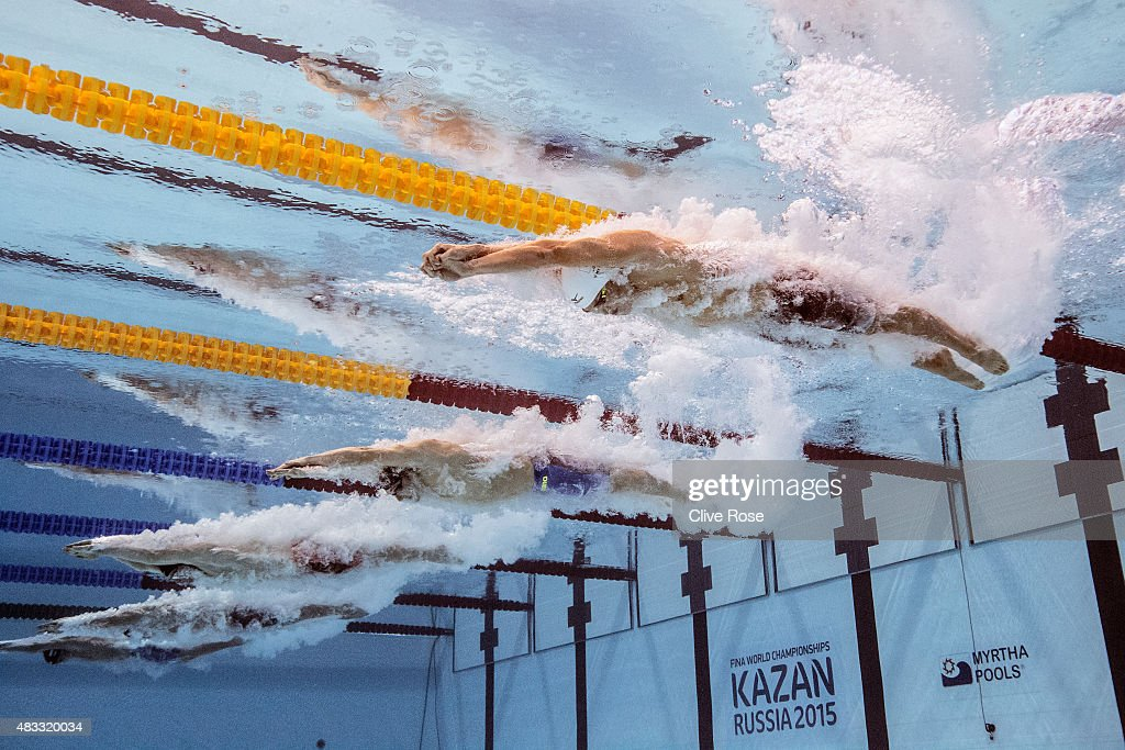 Yasuhiro Koseki of Japan starts the Men's 200m Breaststroke Final on day fourteen of the 16th FINA World Championships at the Kazan Arena on August 7, 2015 in Kazan, Russia.