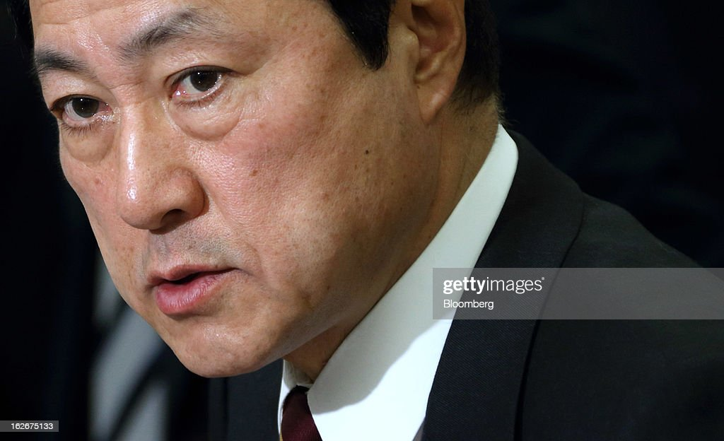 Yasuhiro Sato, president and chief executive officer of Mizuho Financial Group Inc., speaks during a news conference in Tokyo, Japan, on Tuesday, Feb. 26, 2013. Mizuho Financial Group Inc., Japan's third-biggest bank by market value, plans to cut an additional 600 jobs as it targets profit of 550 billion yen ($6 billion) in three years following the merger of its lending units. Photographer: Tomohiro Ohsumi/Bloomberg via Getty Images