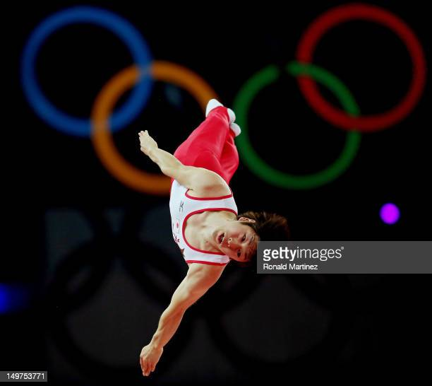Yasuhiro Ueyama of Japan competes on the Men's Trampoline during Day 7 of the London 2012 Olympic Games at North Greenwich Arena on August 3 2012 in...
