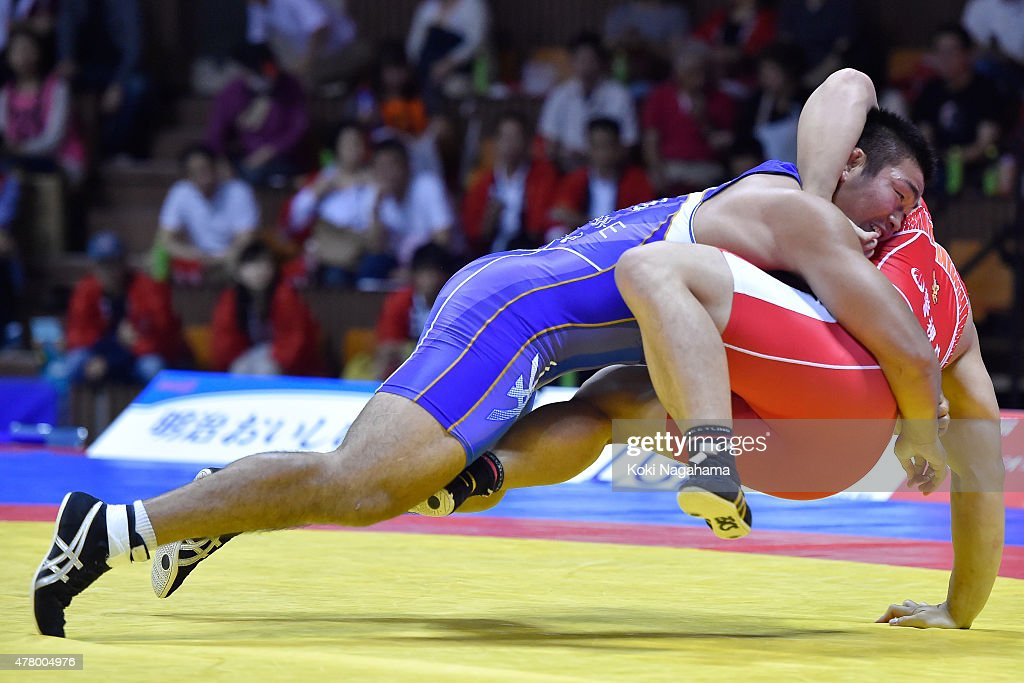 Yasuhiro Yonehira competes in the Men's 98kg grecoroman style final match against Yusuke Yamamoto during All Japan Wrestling Championships at Yoyogi...