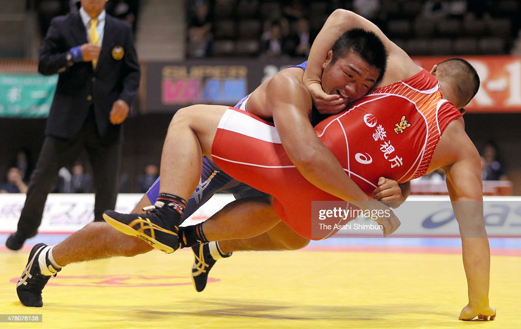 Yasuhiro Yonehira competes in the Men's 98kg grecoroman style final match against Yusuke Yamamoto during the All Japan Wrestling Championships at...