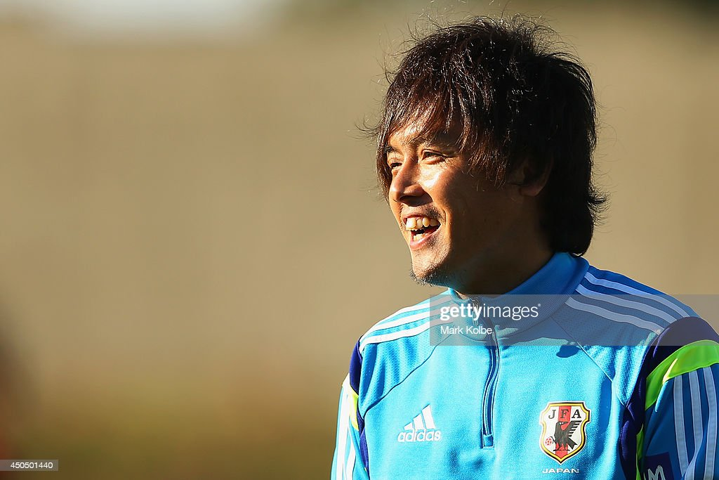 Yasuhito Endo laughs during a Japan training session at the Japan national team base camp at the Spa Sport Resort on June 12, 2014 in Itu, Sao Paulo.