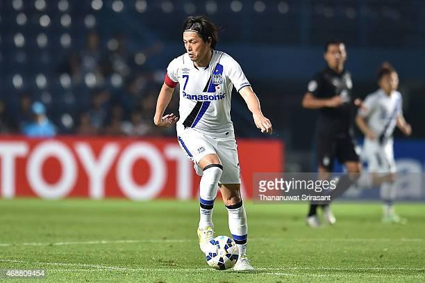 Yasuhito Endo of Gamba Osaka holds the ball during the Asian Champions League match between Buriram United and Gamba Osaka at Buriram Stadium on...