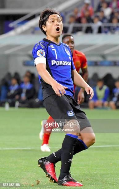 Yasuhito Endo of Gamba Osaka reacts after missing a penalty kick during the AFC Champions League Group H match between Gamba Osaka v Adelaide United...
