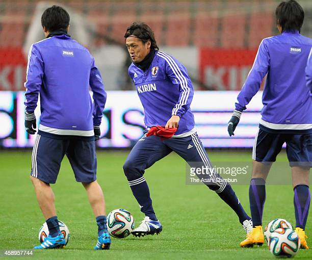 Yasuhito Endo of Japan in action during a training session ahead of the international friendly against Honduras at Toyota Stadium on November 13 2014...
