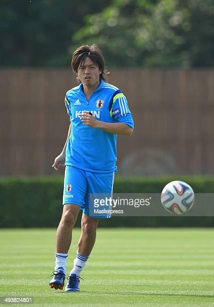 Yasuhito Endo of Japan in action during the training session on May 23 2014 in Ibusuki Kagoshima Japan