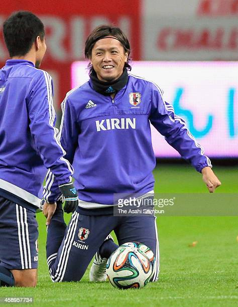 Yasuhito Endo of Japan looks on during a training session ahead of the international friendly against Honduras at Toyota Stadium on November 13 2014...