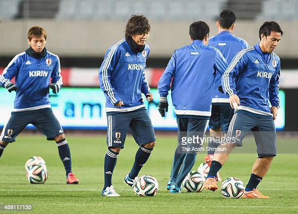 Yasuhito Endo of Japan warms up during an official training session ahead of the international friendly match between Japan and Australia at Nagai...