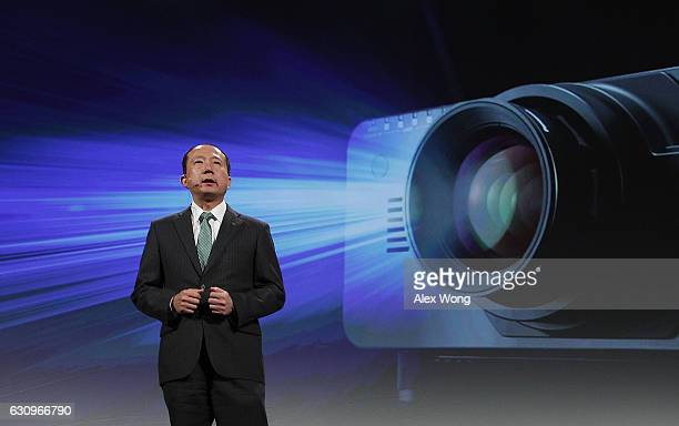 Yasuji Enokido President of Panasonic AVC Newwork Company speaks during a press event for CES 2017 at the Mandalay Bay Convention Center on January 4...