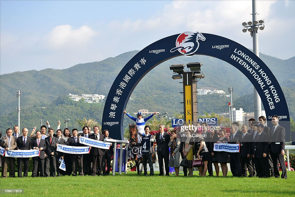 Yasunari Iwata aboard Lord Kanaloa from Japan, celebrates with connections after winning The Longines Hong Kong Sprint during the Hong Kong International Races at Sha Tin racecourse on December 9, 2012 in Hong Kong.
