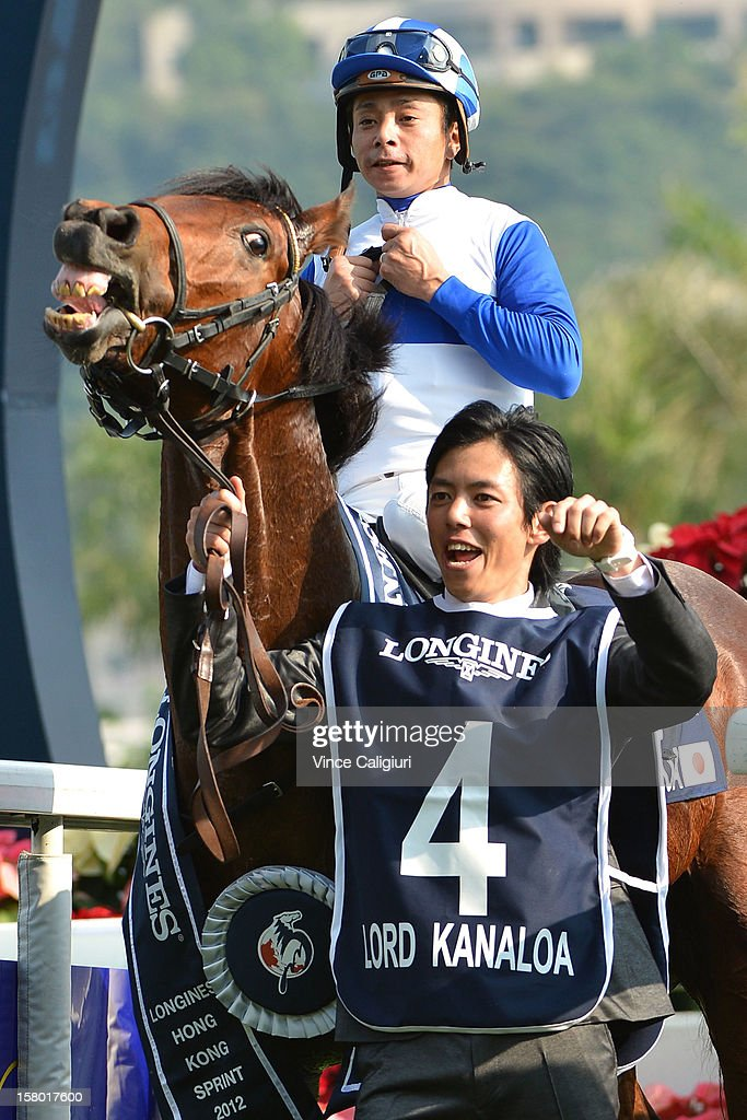 Yasunari Iwata riding Lord Kanaloa from Japan, after winning The Longines Hong Kong Sprint during the Hong Kong International Races at Sha Tin racecourse on December 9, 2012 in Hong Kong.