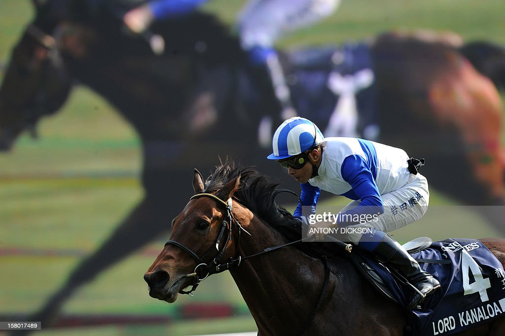 Yasunari Iwata riding Lord Kanoloa of Japan rides to victory in the 1200-metre Longines Hong Kong Sprint race during the Hong Kong International Races at the Shatin racecourse in Hong Kong on December 9, 2012. The Sprint race is one of four Group One contests that are taking place at the Longines Hong Kong International Races with total prize money for the day at 9.2 million USD. AFP PHOTO / Antony DICKSON