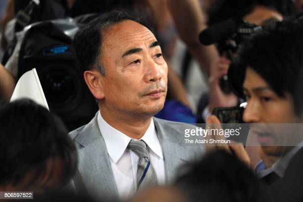 Yasunori Kagoike former head of a school operator Moritomo Gakuen listens to a street speech by Japanese Prime Minister and ruling Liberal Democratic...