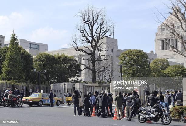 Yasunori Kagoike head of the Moritomo Gakuen group arrives to give sworn testimony in the Diet on March 23 2017 in Tokyo Japan Yasunori Kagoike at...